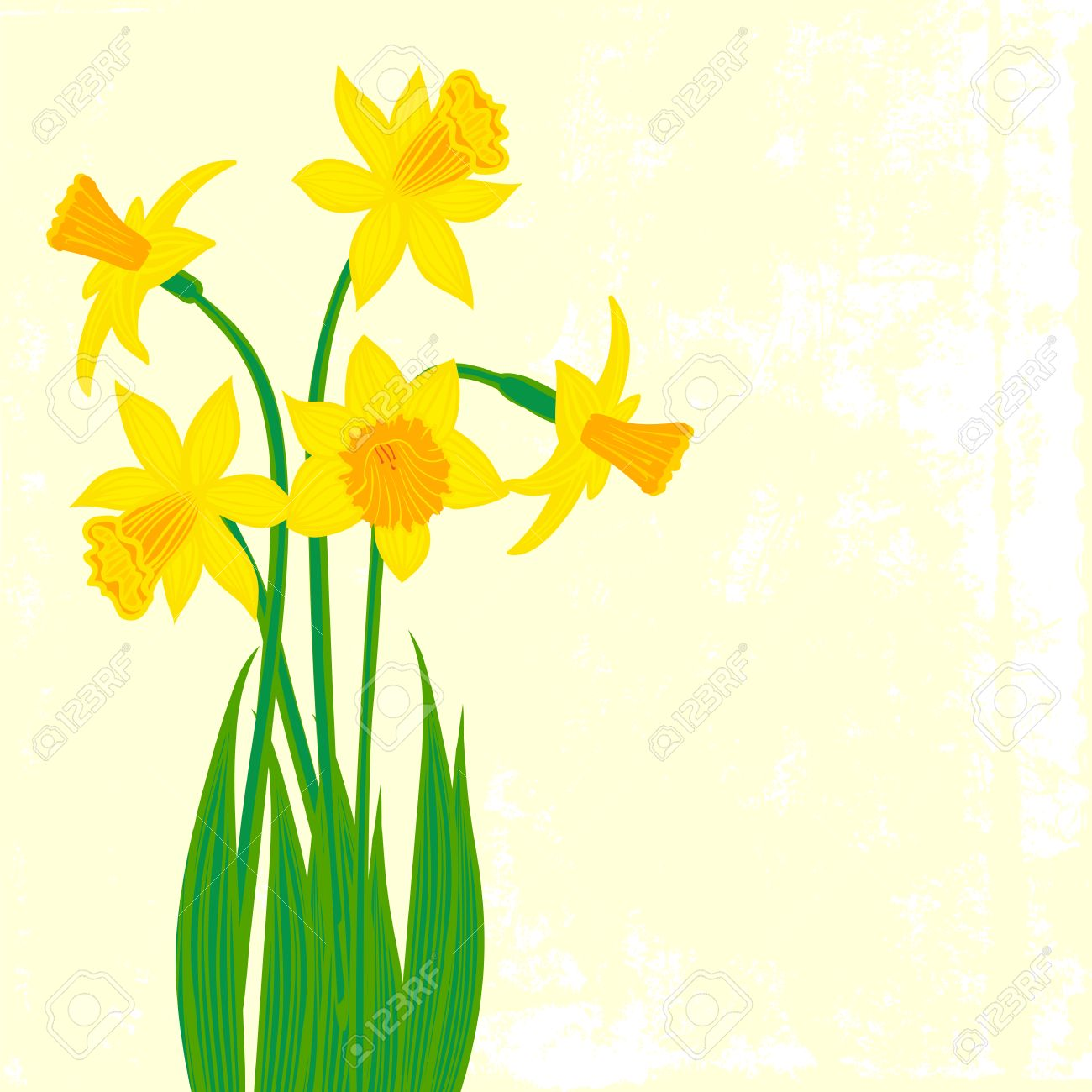Vector card with daffodils on textured background template for vector card with daffodils on textured background template for easter promotion flower shop gift negle Choice Image