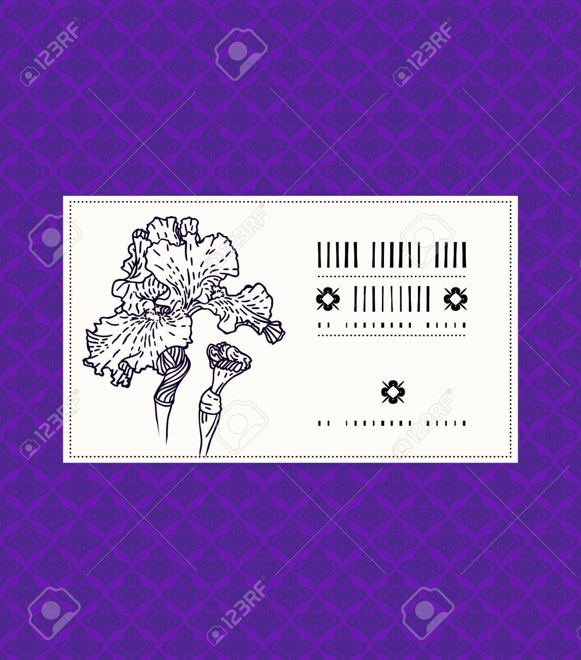 Vector card with iris on ornamental deep violet background template vector vector card with iris on ornamental deep violet background template for spa promotion flower shop gift card soap package spring sale coupon izmirmasajfo