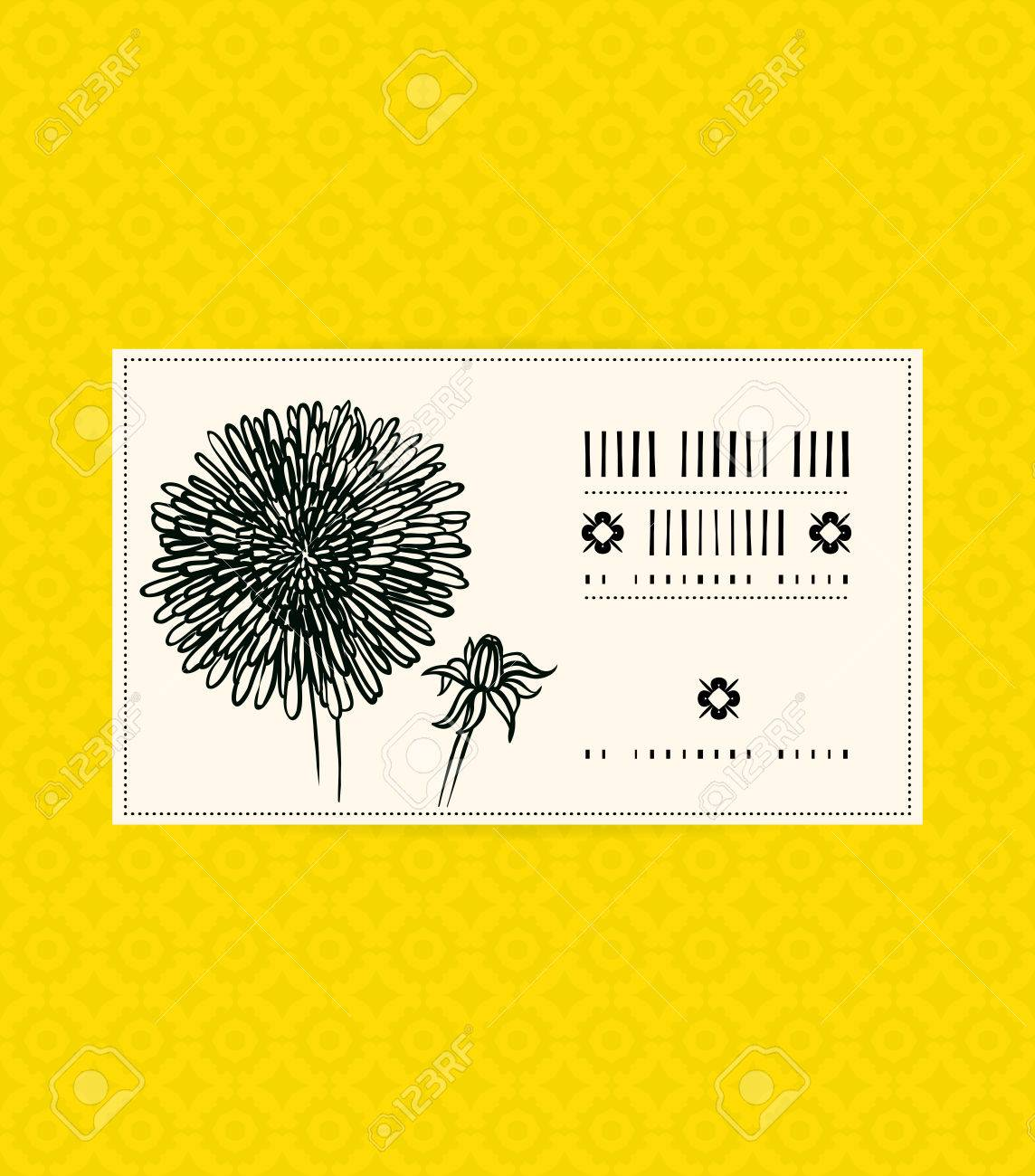 Vector Card With Dandelion On Ornamental Yellow Background. Template ...