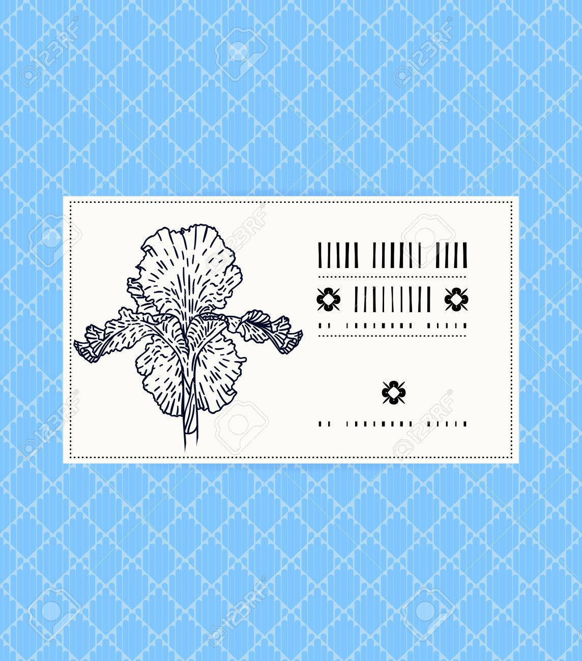 Vector Card With Iris On Ornamental Sky Blue Background. Template ...
