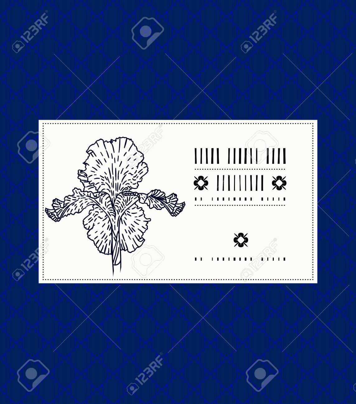Vector card with iris on ornamental deep blue background template vector vector card with iris on ornamental deep blue background template for spa promotion flower shop gift card soap package spring sale coupon izmirmasajfo
