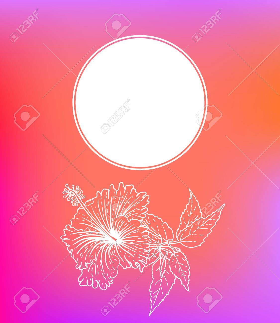 Vector Card With Hibiscus On Soft Blurry Background. Template ...