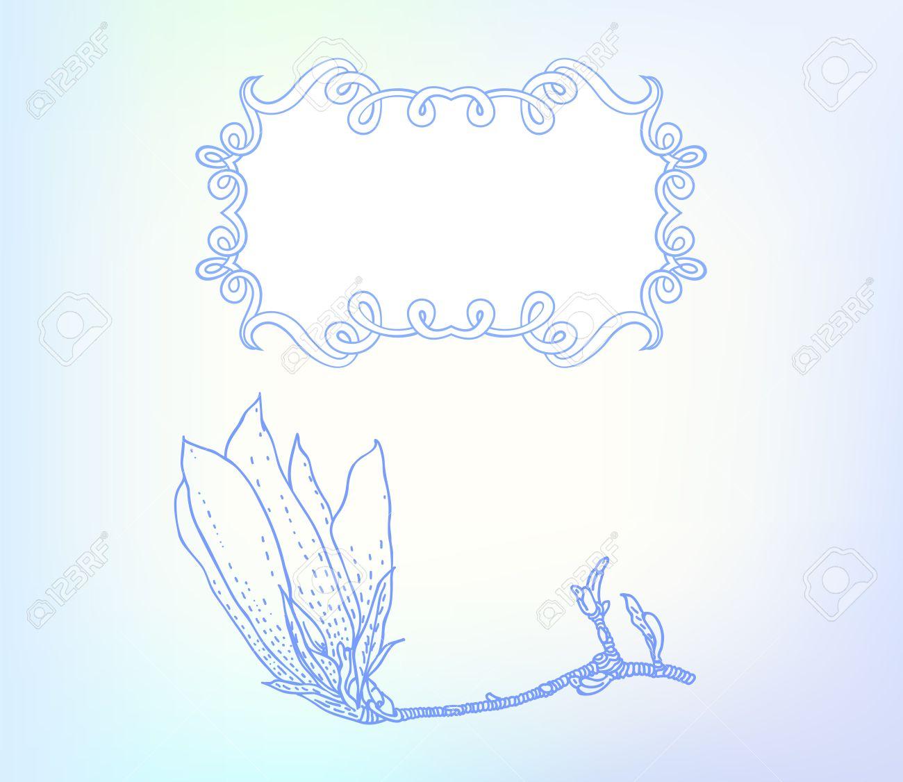 Vector De La Tarjeta Con La Magnolia En Fondo Azul Claro. Plantilla ...