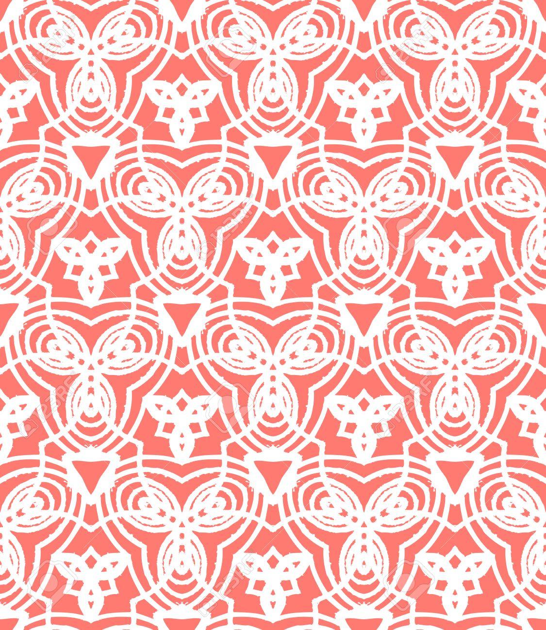 Papier Peint Art Deco Blanc vintage art déco motif de vecteur dans le corail rouge et blanc. texture  transparente pour le web; imprimer; papier peint; invitation de mariage ou