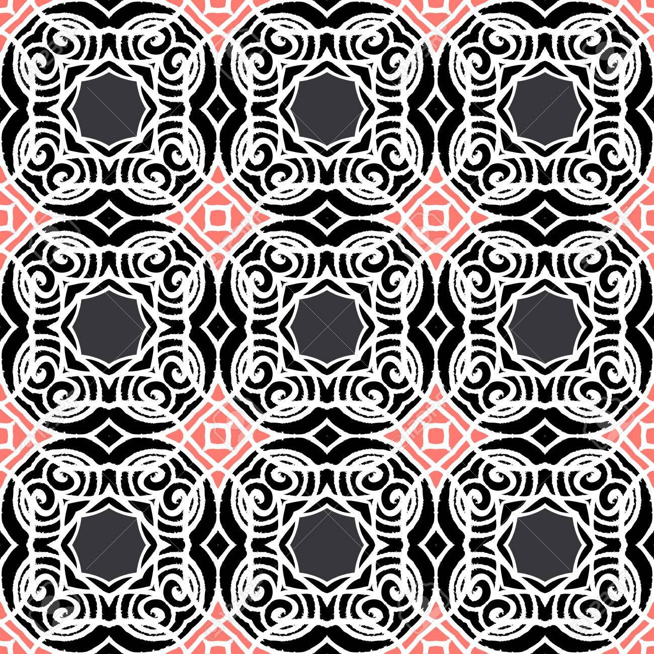 Vintage Art Deco Modele Vectoriel En Noir Blanc Et Rose Texture