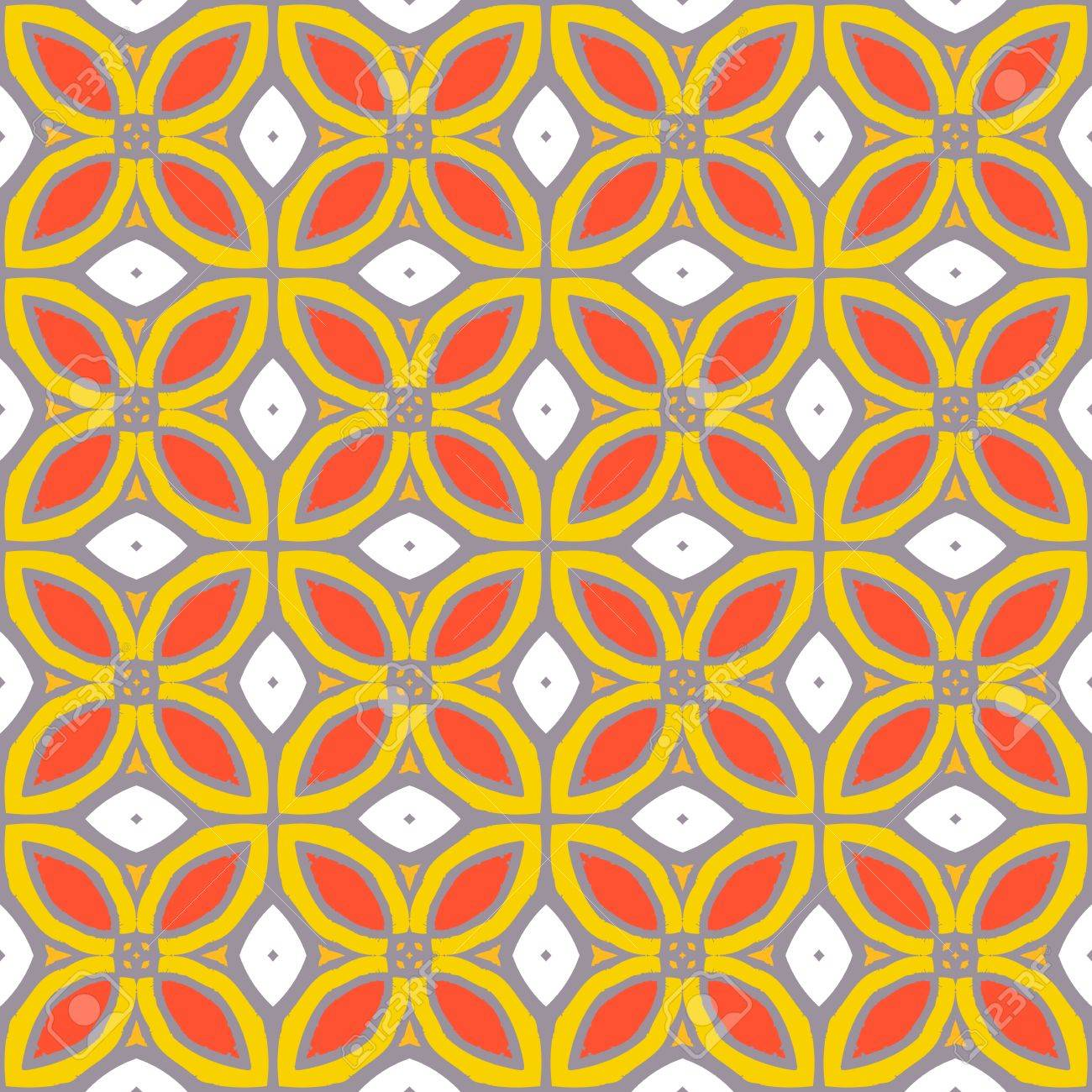 Seamless Vector Pattern With Bold Geometric Shapes In 1970s Style