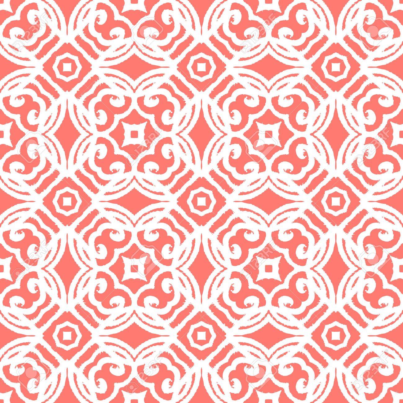Vintage-Vektor-Art-Deco-Muster In Korallen Rot Und Weiß. Nahtlose ...