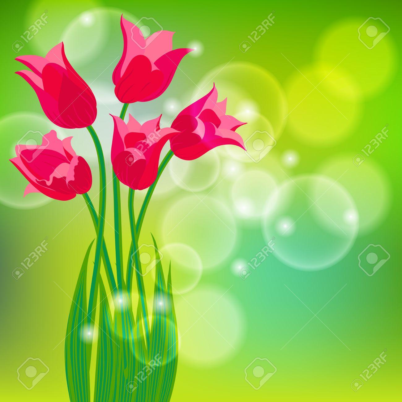 Vector De La Tarjeta Con Tulipanes Rojos En La Luz De Fondo Verde ...