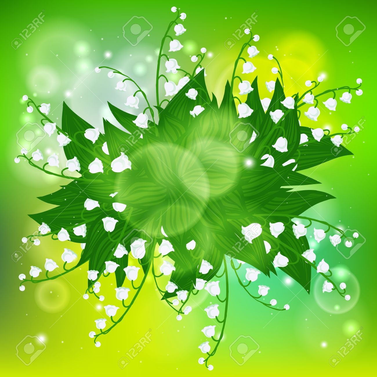 Vector Spring Background With Bouquet Of Lily-of-the-valley ...