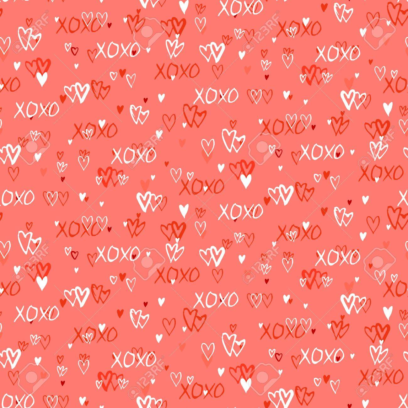 Grunge Vector Seamless Pattern With Hand Painted Hearts And Words ...