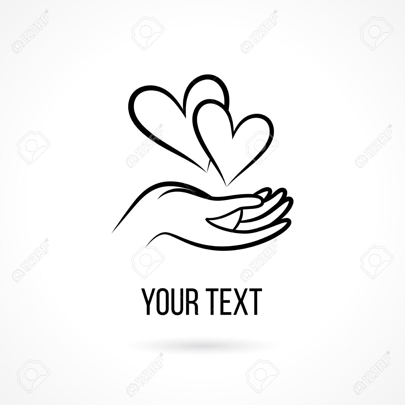 Vector with hand, two hearts, open palm and text  Design template