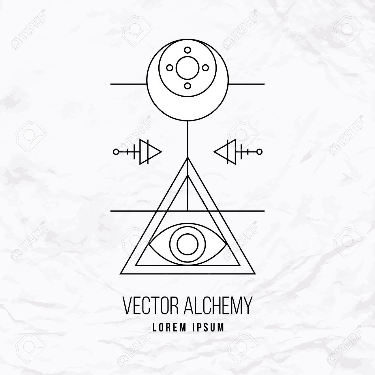Vector geometric alchemy symbol with eye sun moon shapes and vector geometric alchemy symbol with eye sun moon shapes and abstract occult and biocorpaavc Images