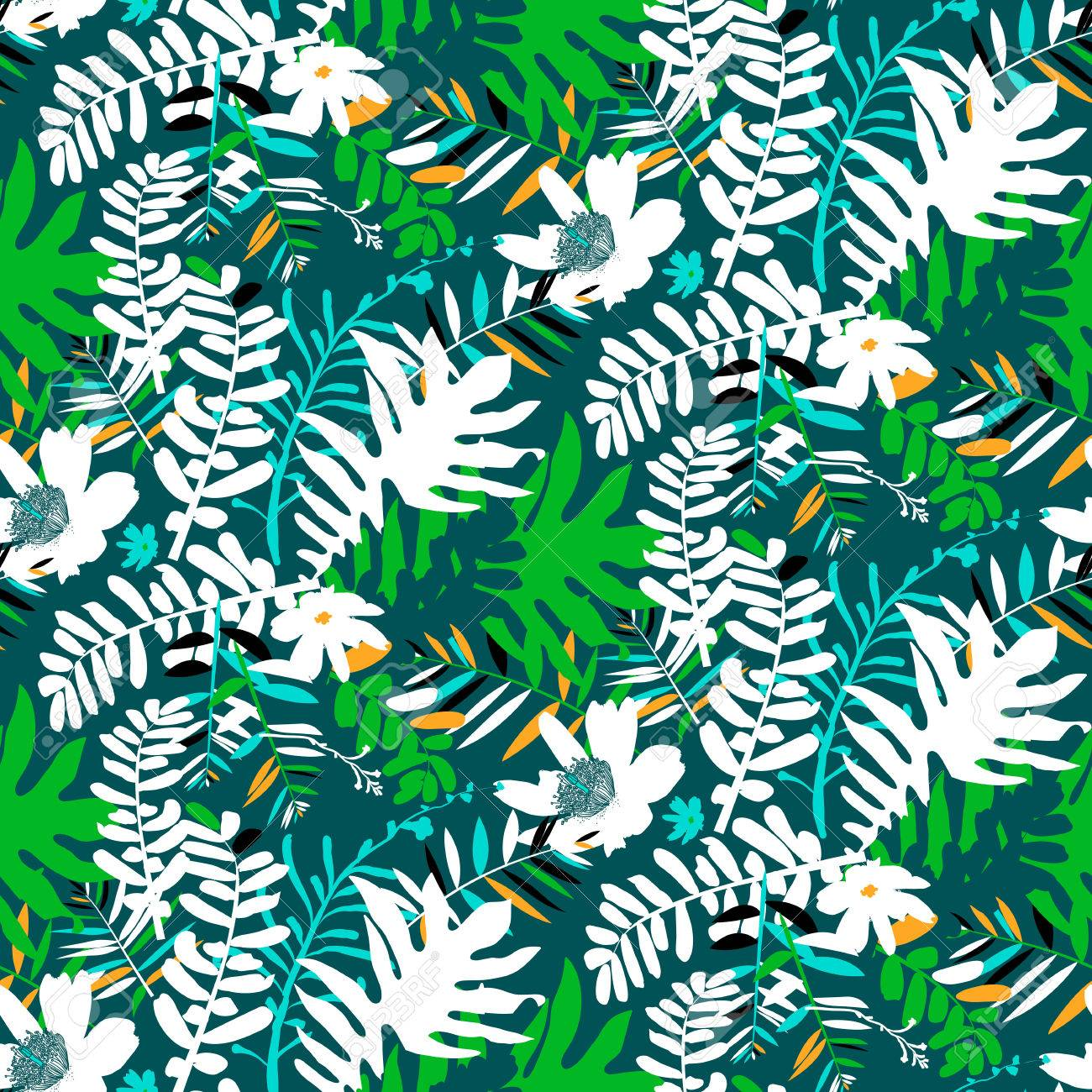 Vector Seamless Pattern With Leafs And Flowers Inspired By Tropical ...
