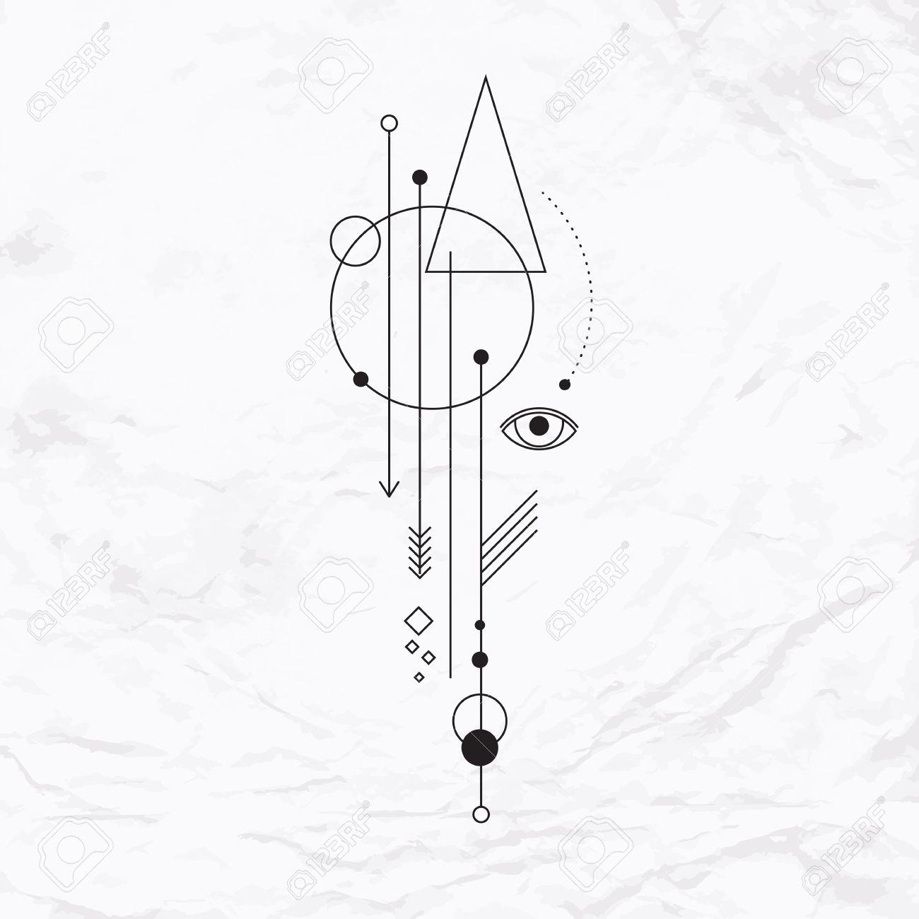 Signo Mistico Abstracto Con Formas Geometricas Triangulos Galones