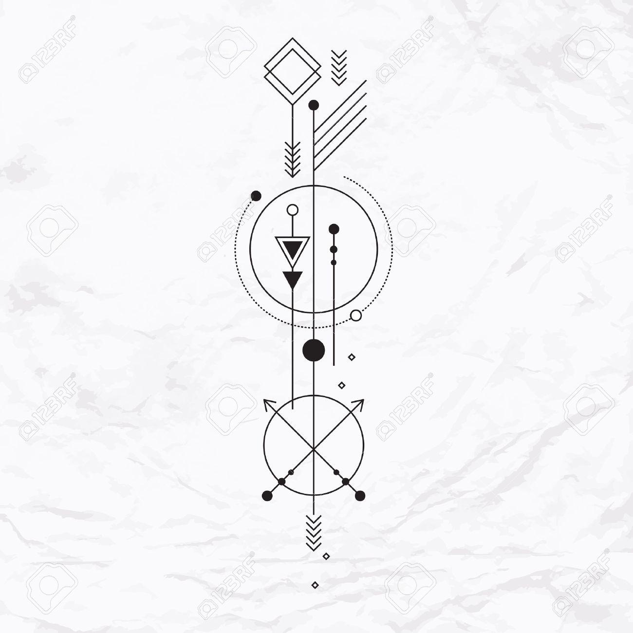 Signo Místico Abstracto Con Formas Geométricas Triángulos Galones