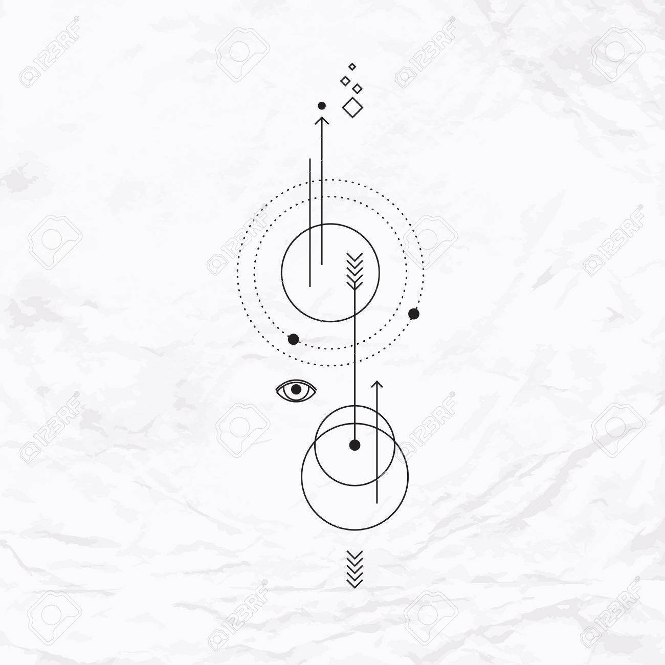 Signo Místico Abstracto Con Formas Geométricas Galones Flechas