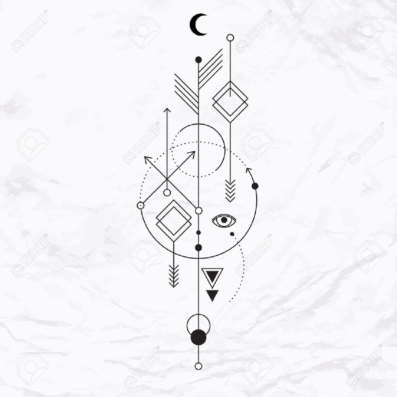 Vector Geometric Alchemy Symbol With Eye Moon Shapes Abstract