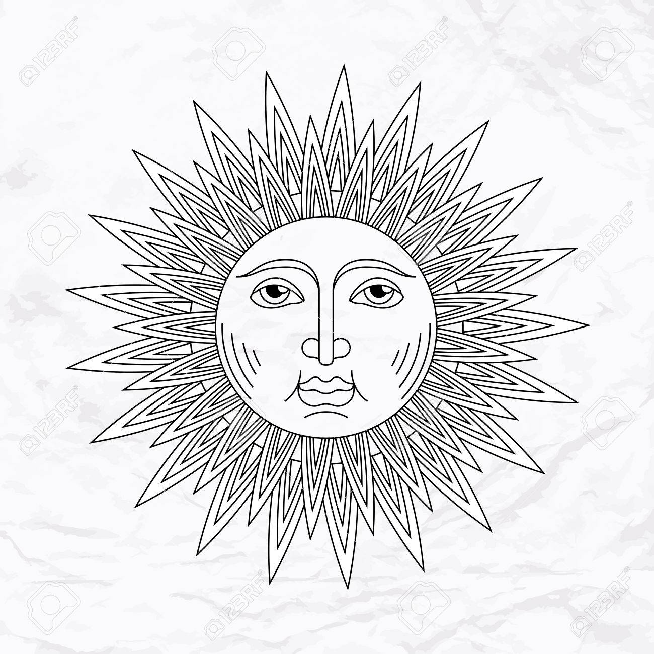 Vector Geometric Illustration Of Medieval Sun Alchemy Symbol With