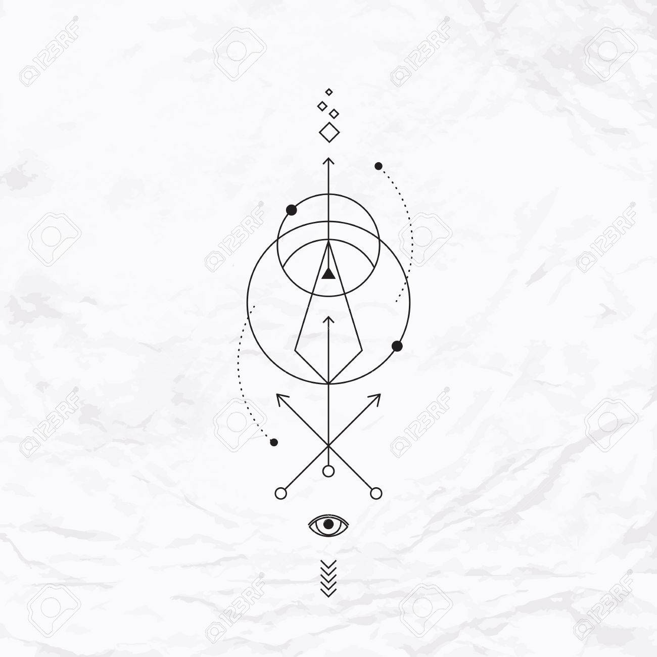 Vector Geometric Alchemy Symbol With Eye Circle Shapes Dots