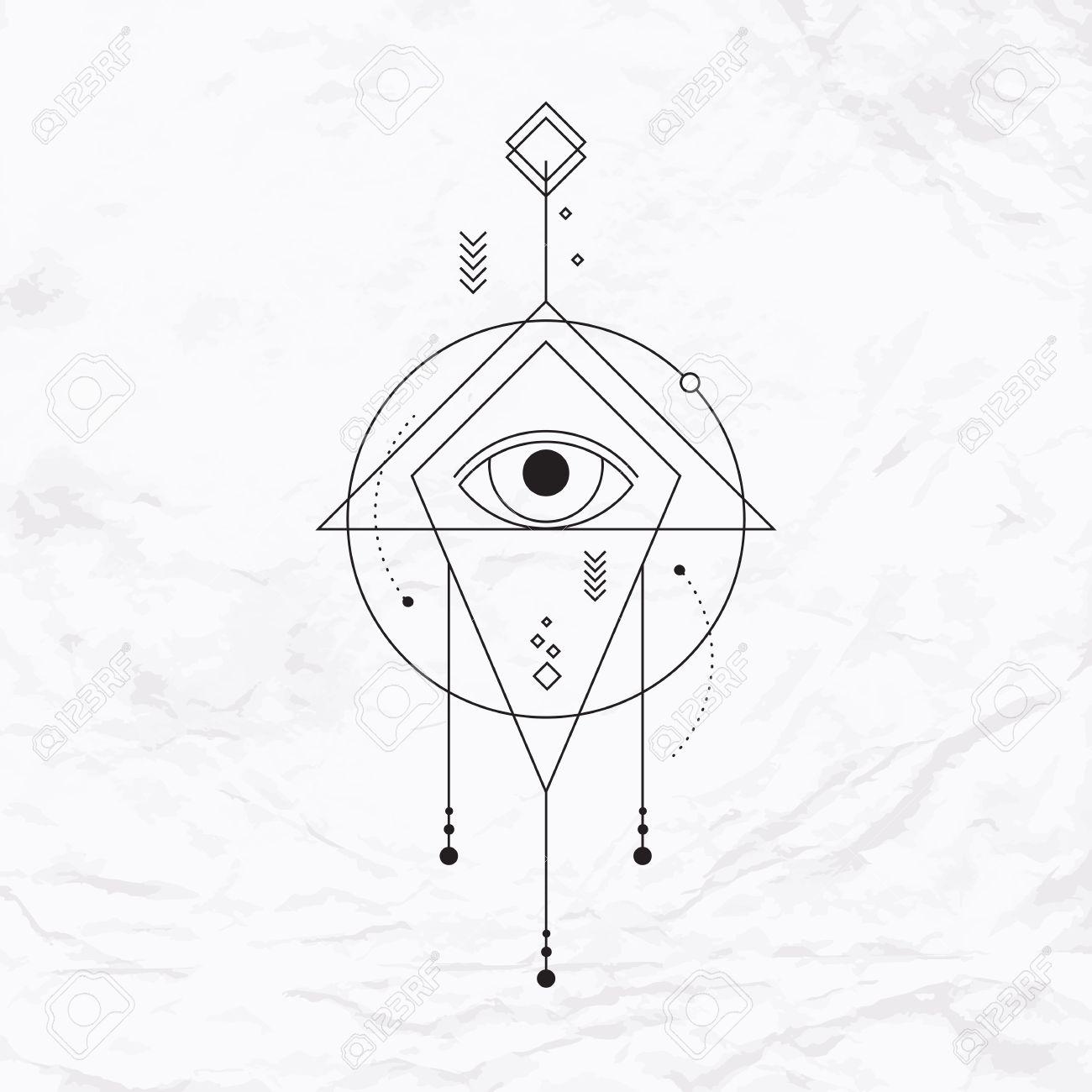 Abstrait Vector Mystique Signe Geometrique Avec Des Formes