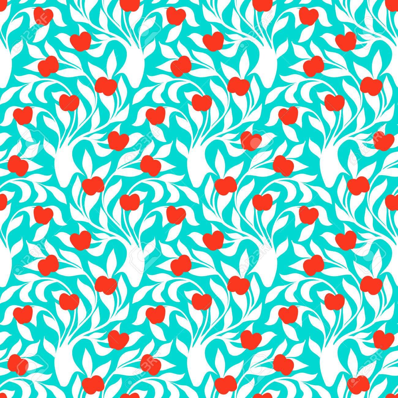 木のシルエット シームレスなパターンの葉し 青と白の色で赤いリンゴ