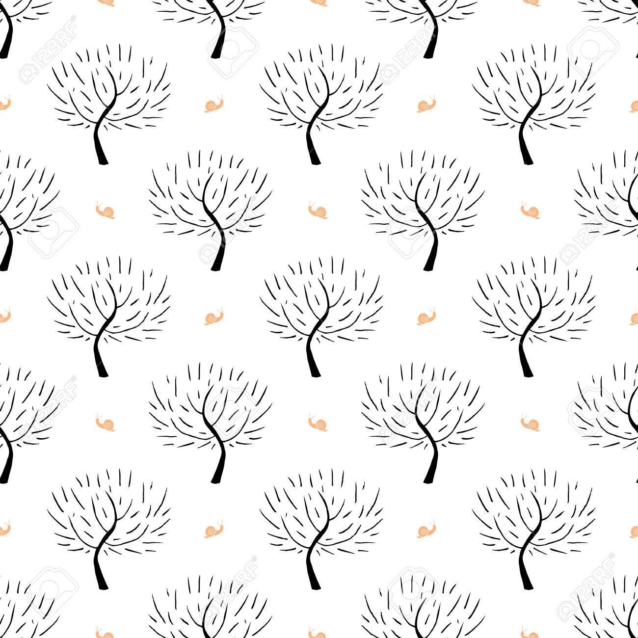 Einfache Elegante Muster Mit Drei Silhouetten Und Schnecken In ...