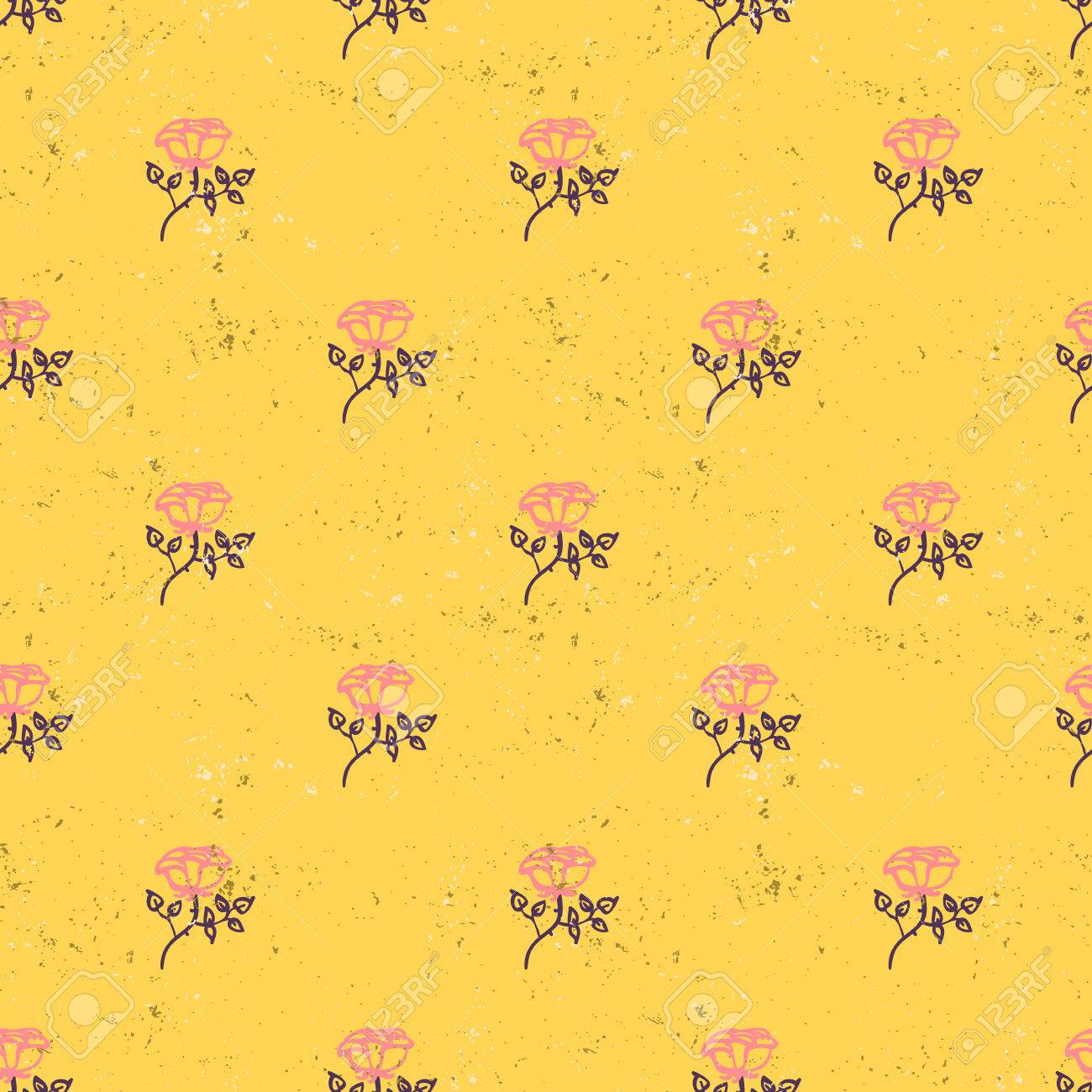 Vintage Floral Pattern With Small Pink Roses On Mustard Background
