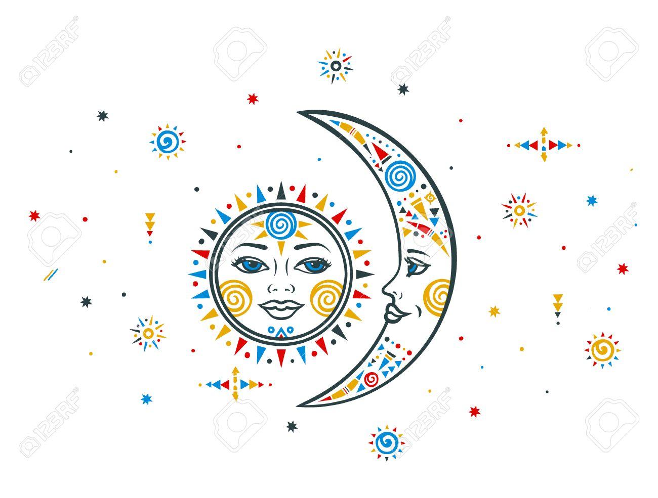 Sun moon illustration. Ethnic sun. Ethnic moon. Bohemian sun moon. Vector moon sun. Tribal ethnic moon sun. Aztec sun moon. Boho hand drawn moon sun. Ethnic symbol sun moon. Moon sign. Sun face sign. - 61439819