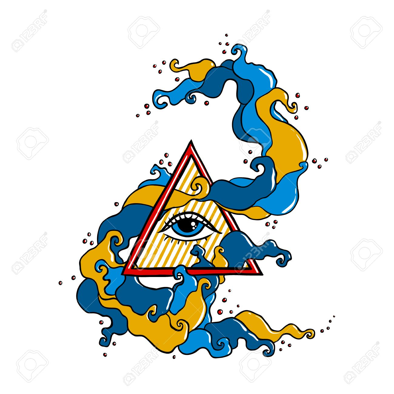 Eye Of Providence Sign Masonic Symbol All Seeing Eye In Triangle