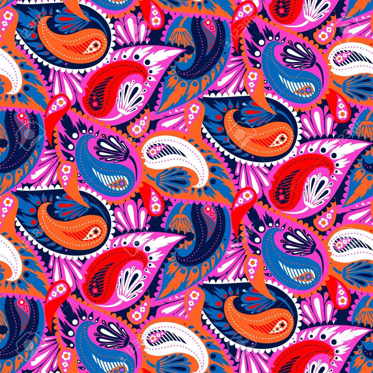 nahtloses muster des bunten paisley vektors bold bohemian print mit ethnischen indischen trkischen - Boho Muster