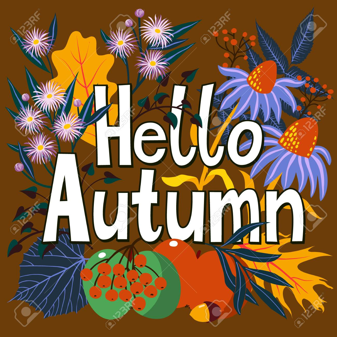 Vector Card With Words Hello Autumn And Fall Leaves And Flowers