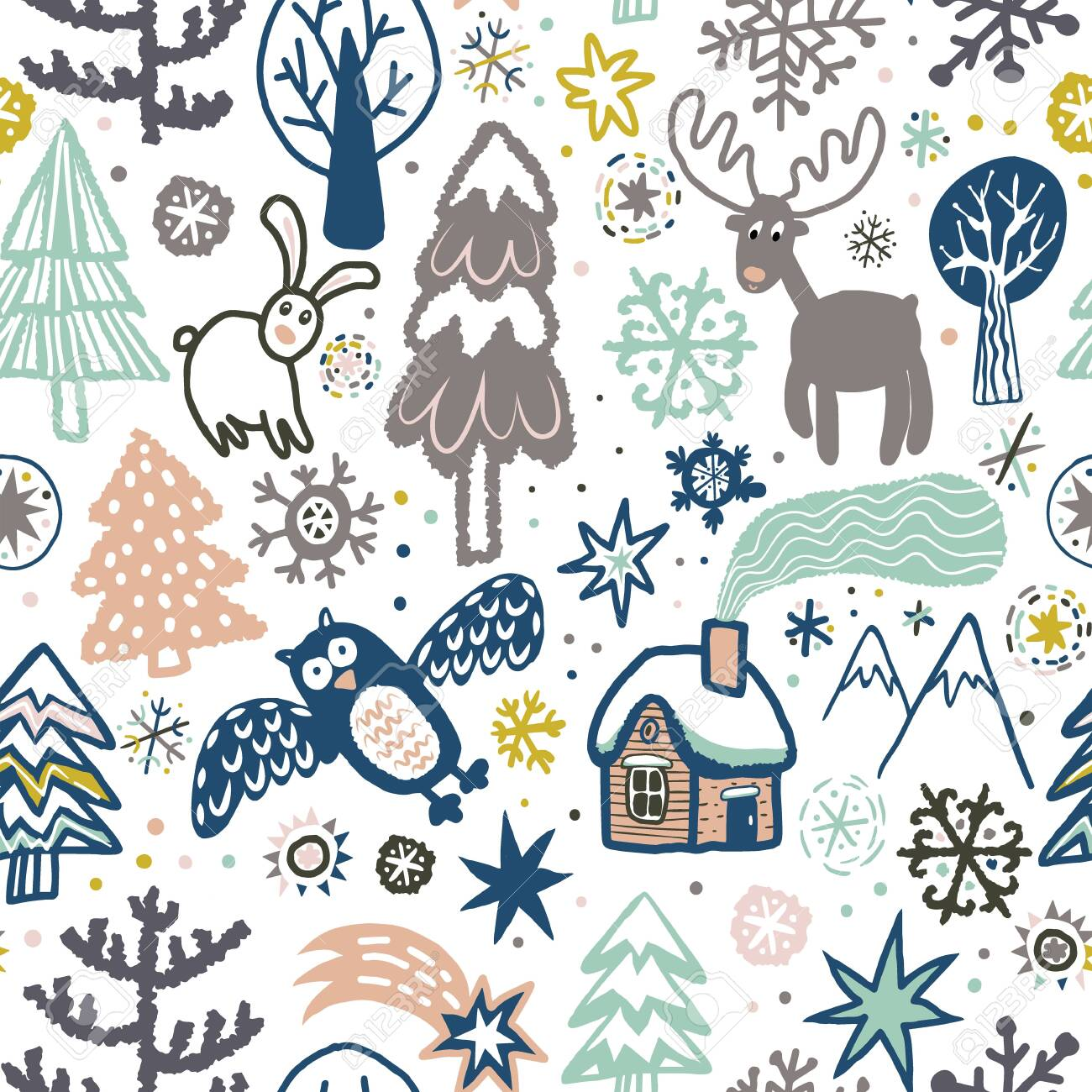 Vector cute pattern with forest animals and birds. - 134840062
