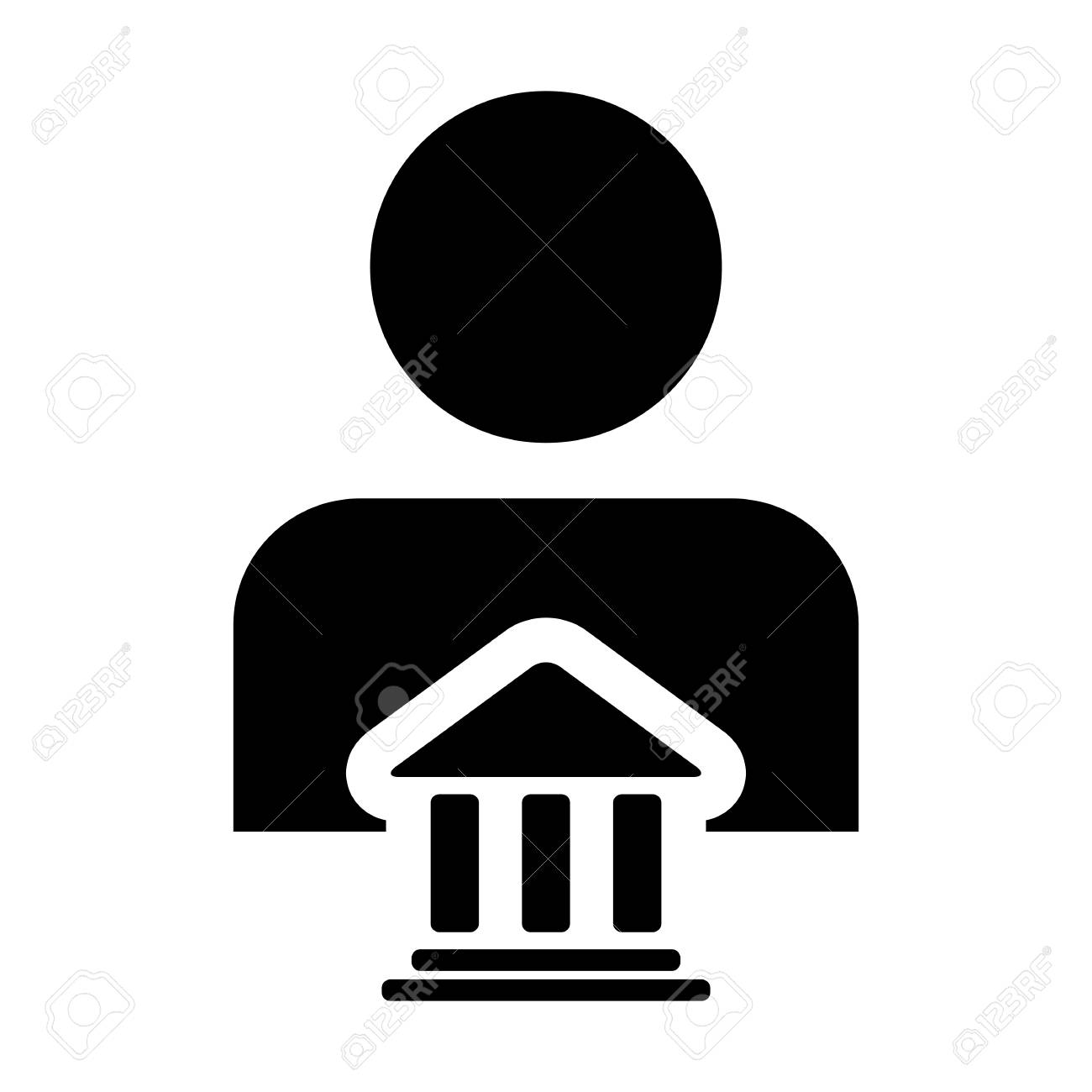 Bank icon vector with person profile male avatar symbol for bank icon vector with person profile male avatar symbol for banking and finance in glyph pictogram biocorpaavc Gallery