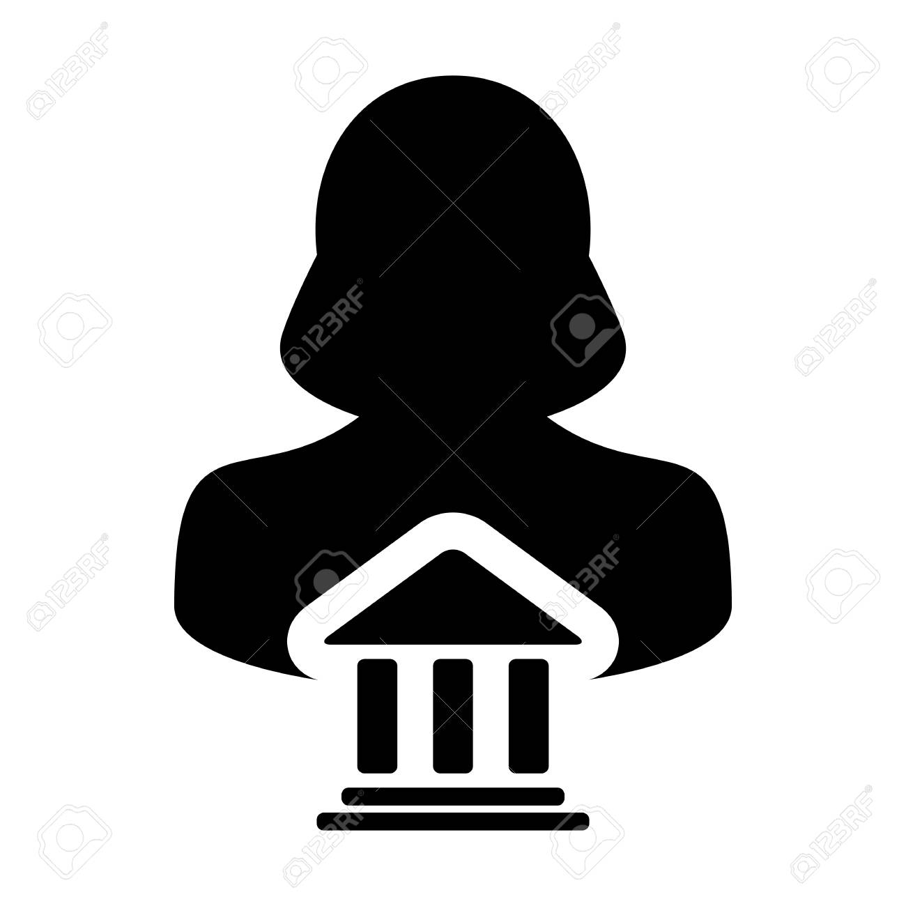 Bank icon vector with person profile female avatar symbol for bank icon vector with person profile female avatar symbol for banking and finance in glyph pictogram biocorpaavc Gallery
