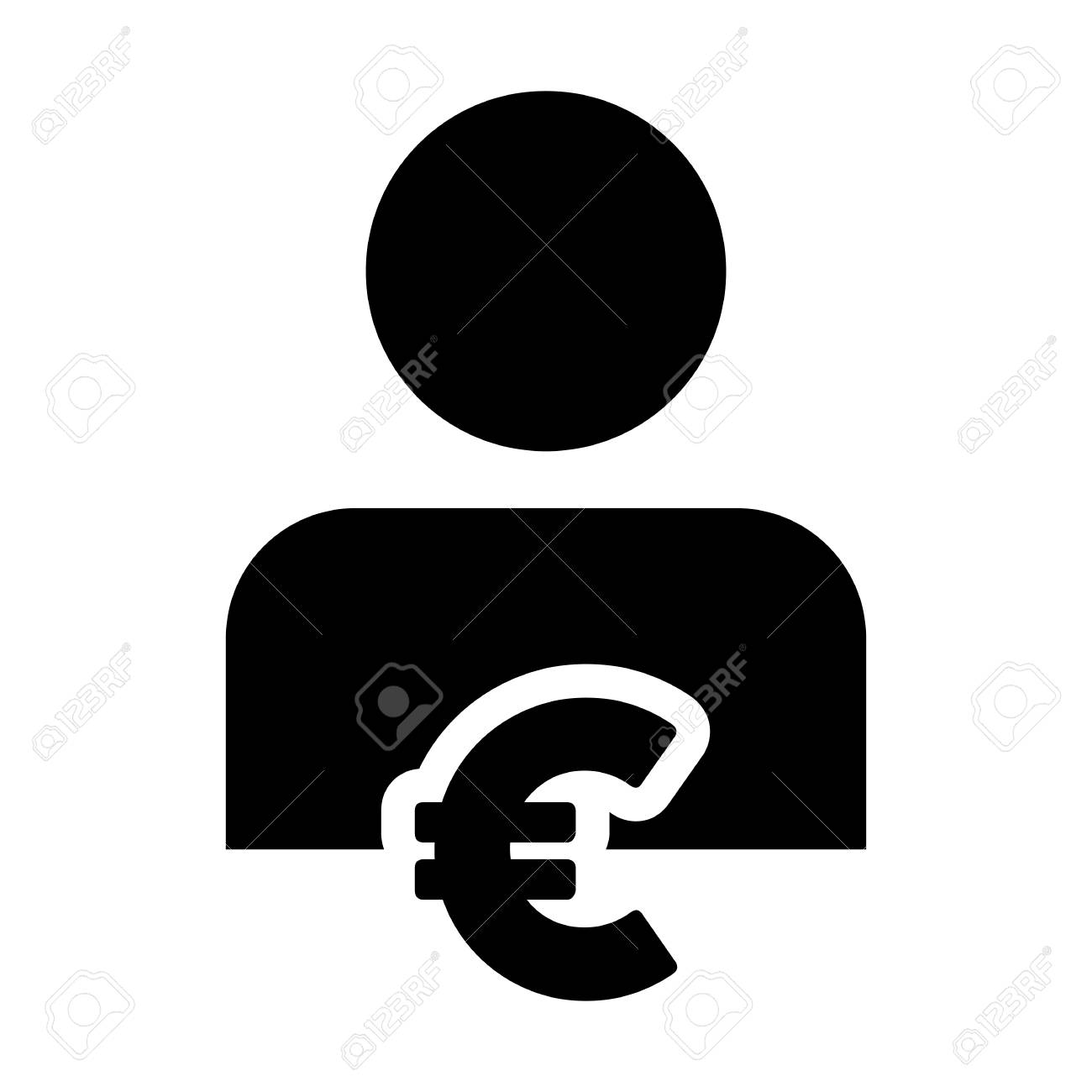 Euro Sign Icon Vector Currency With Person Avatar Symbol For