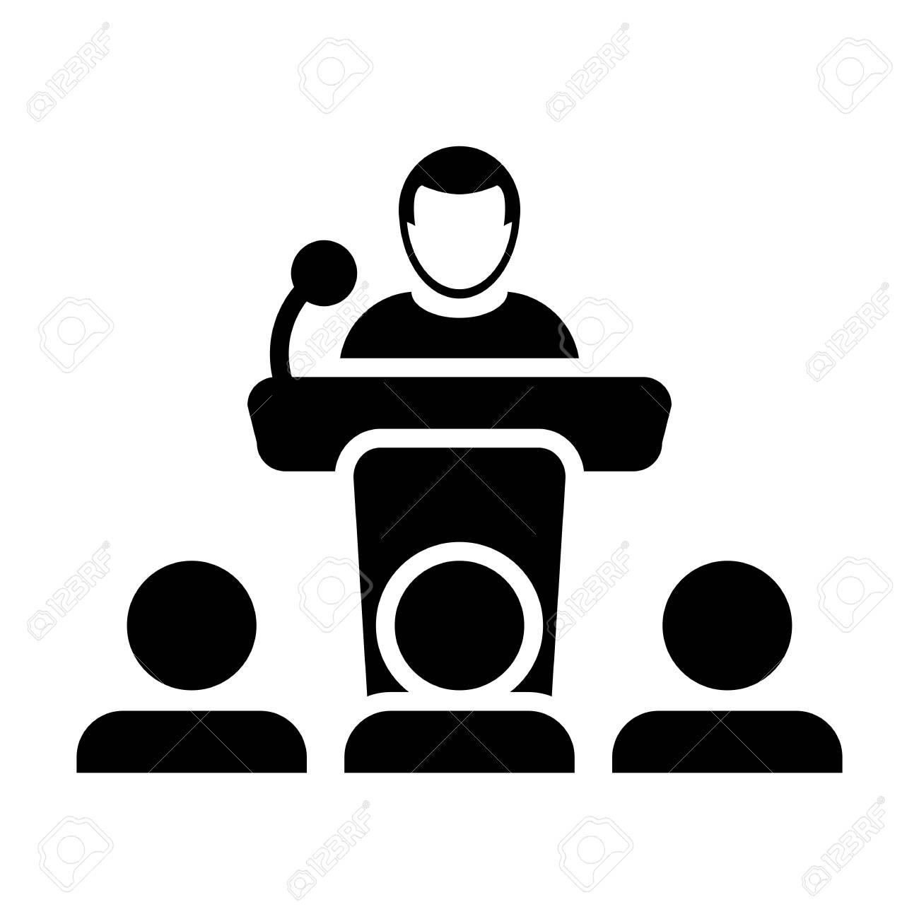 public speaking icon vector male person on podium for presentation rh 123rf com public speaking clipart images public speaking animated clipart