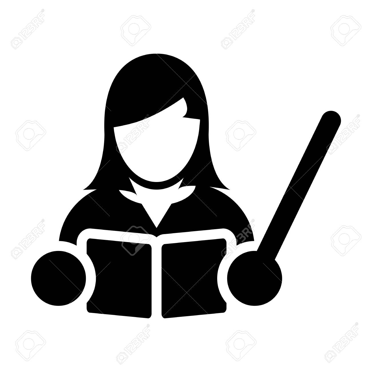 Teacher Icon Vector Female Person Profile Avatar With A Book Royalty Free Cliparts Vectors And Stock Illustration Image 95917221