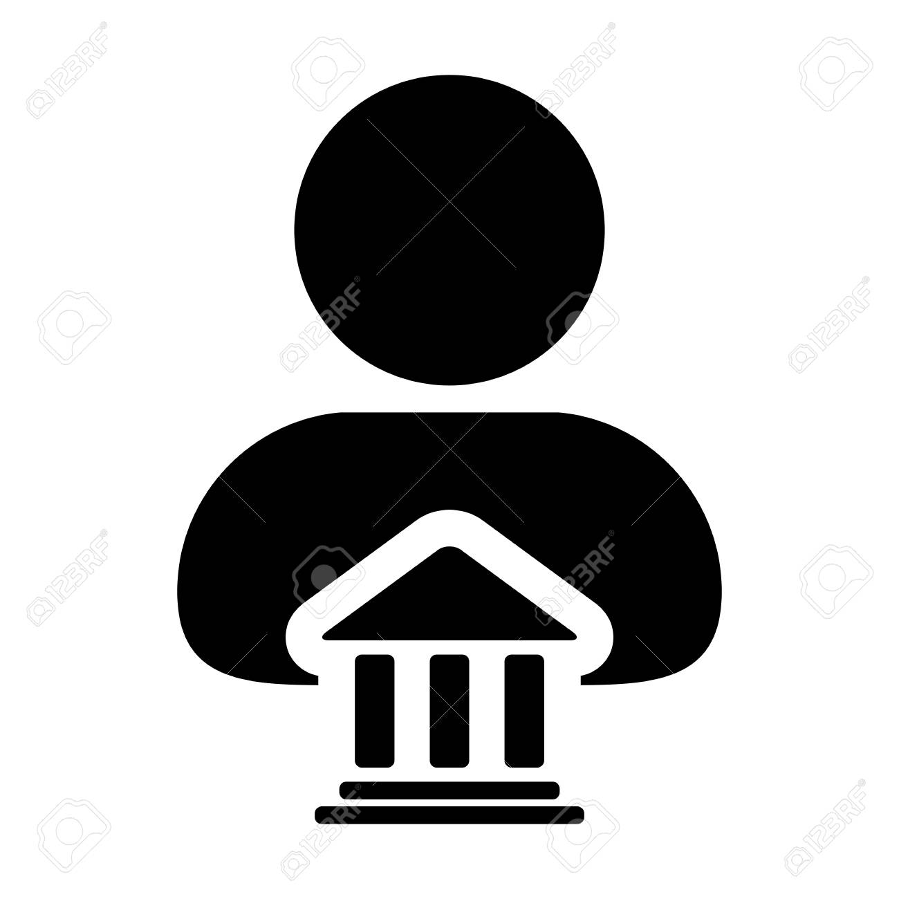 Bank Icon Vector With Person Profile Male Avatar Symbol For Banking