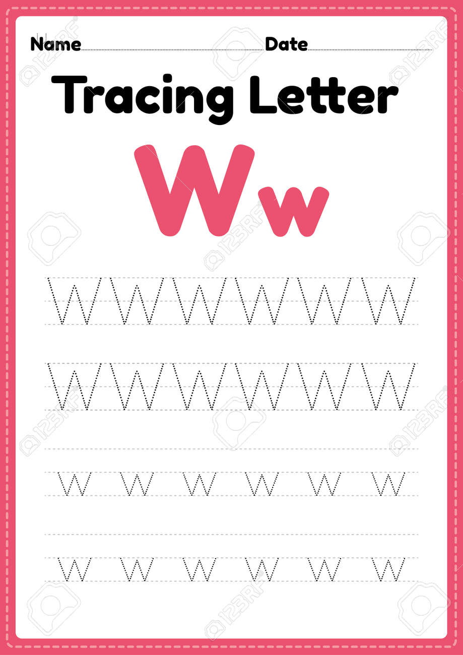 Tracing letter w alphabet worksheet for kindergarten and preschool kids for handwriting practice and educational activities in a printable page illustration. - 168377105