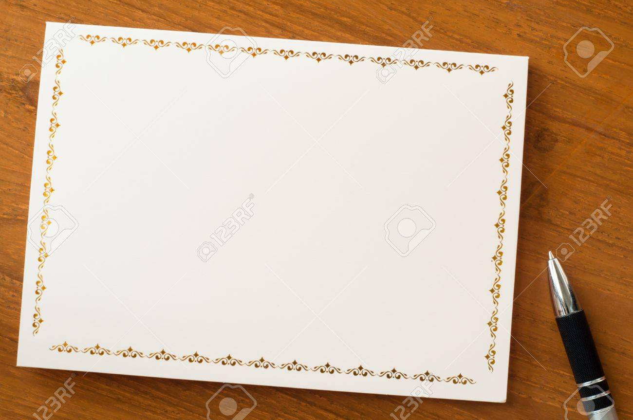 invitation card with vintage frame on wood table Stock Photo - 17726142