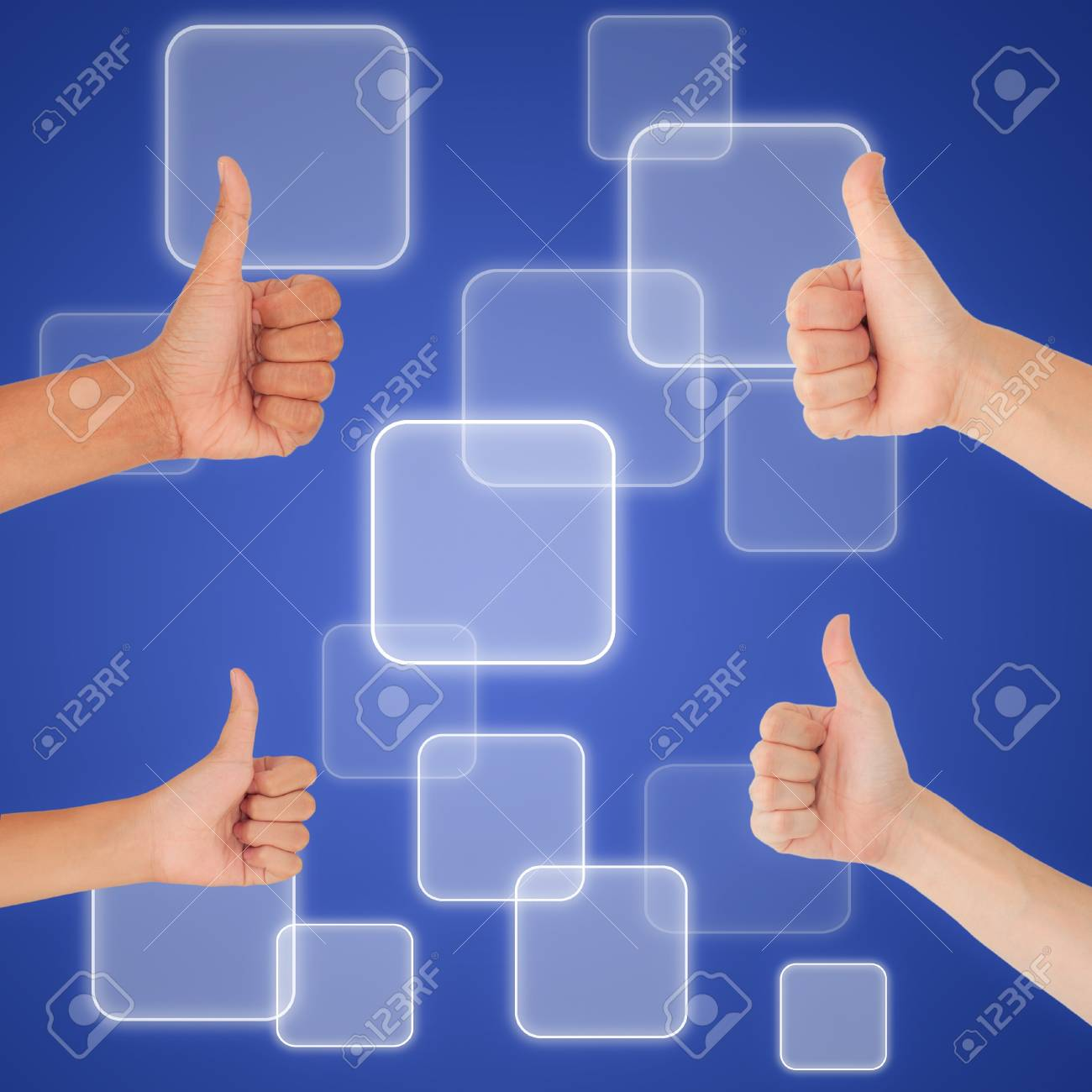 thumbs up on digital button background, like concept Stock Photo - 18513041