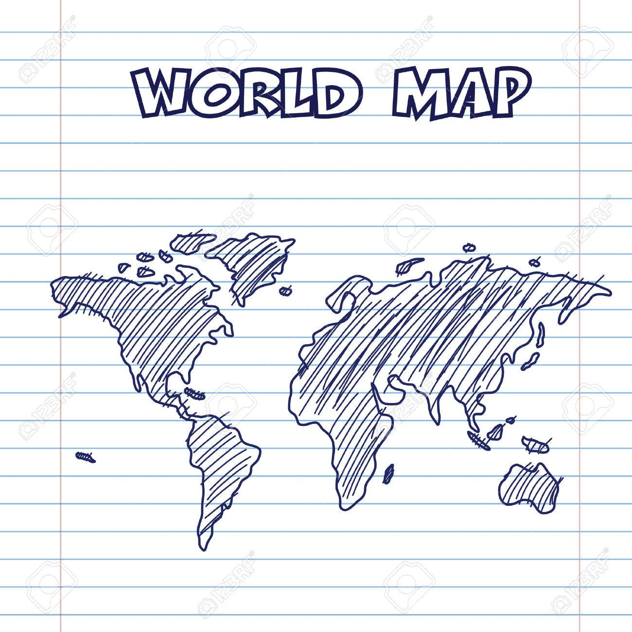 World Map Doodle Pen Ink, Hand Drawn Style Royalty Free Cliparts ...