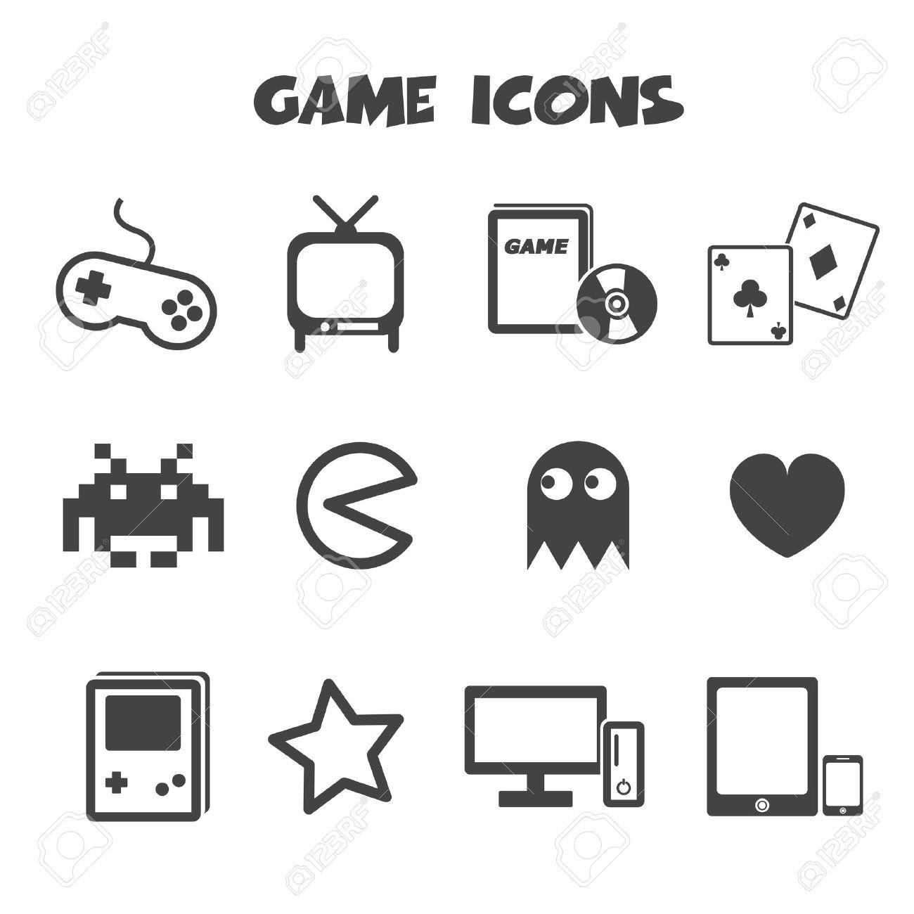 Game Icons, Mono Vector Symbols Royalty Free Cliparts, Vectors ...