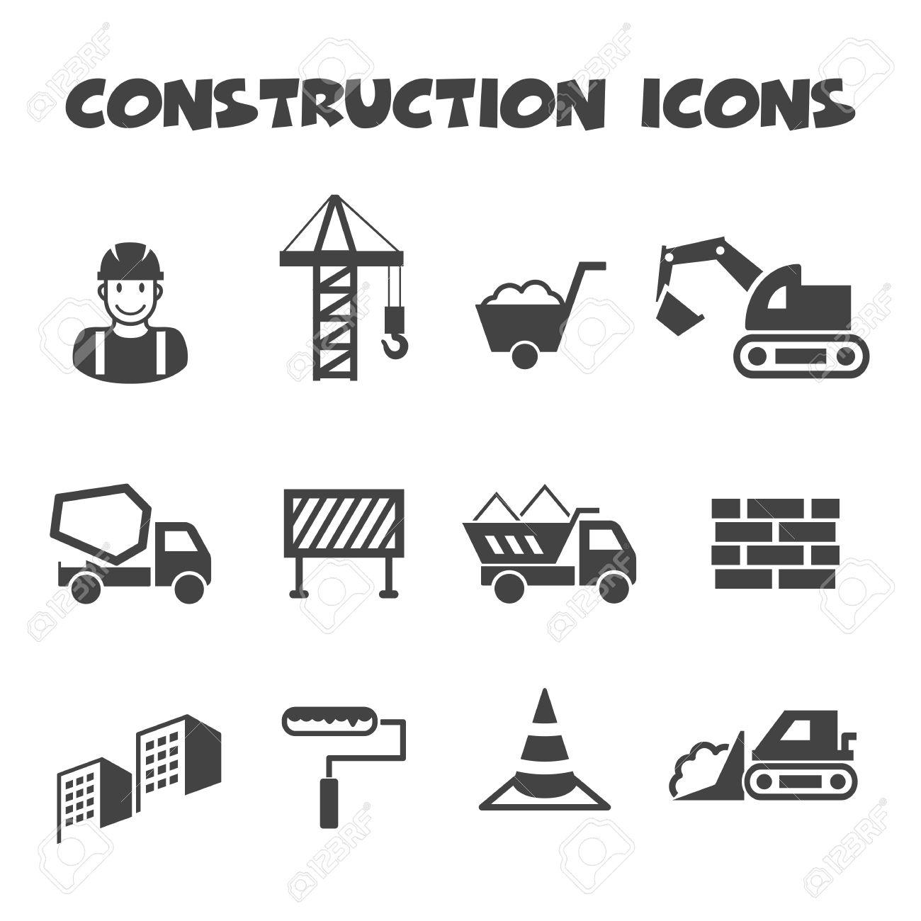 Construction Icons Mono Vector Symbols Royalty Free Cliparts