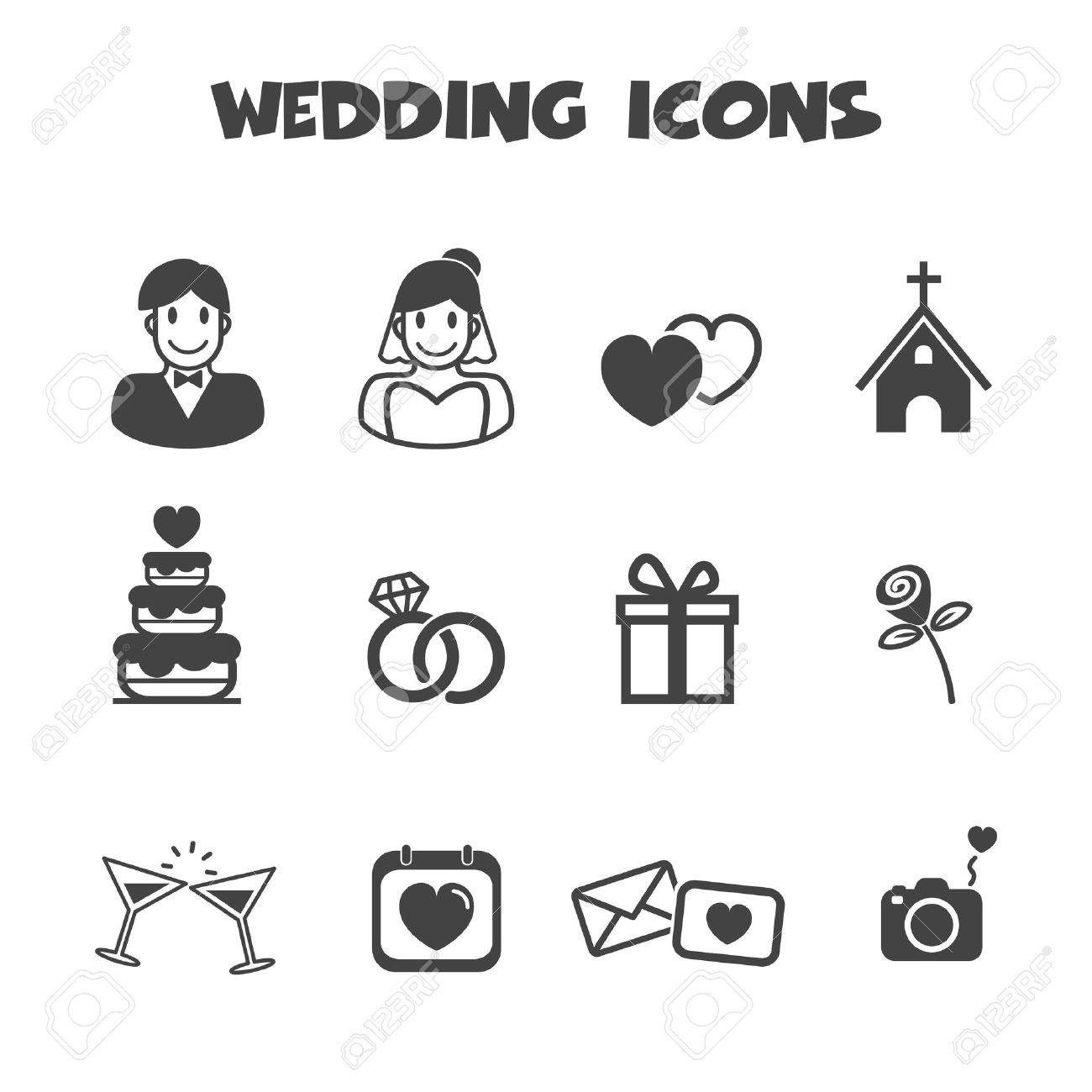 Banque d\u0027images , Icônes de mariage, symboles de vecteur mono