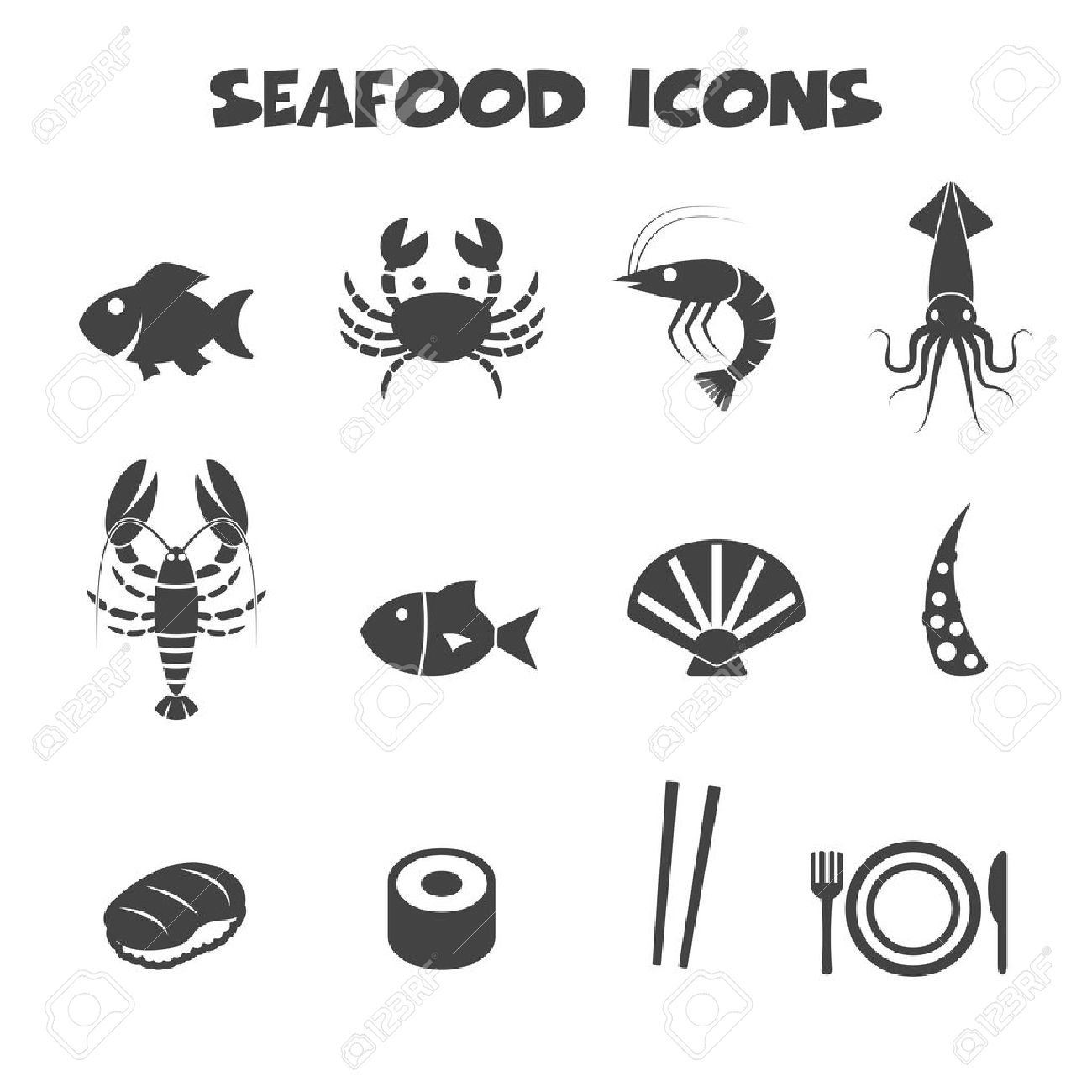 Seafood icons symbols royalty free cliparts vectors and stock seafood icons symbols stock vector 26617872 biocorpaavc Images