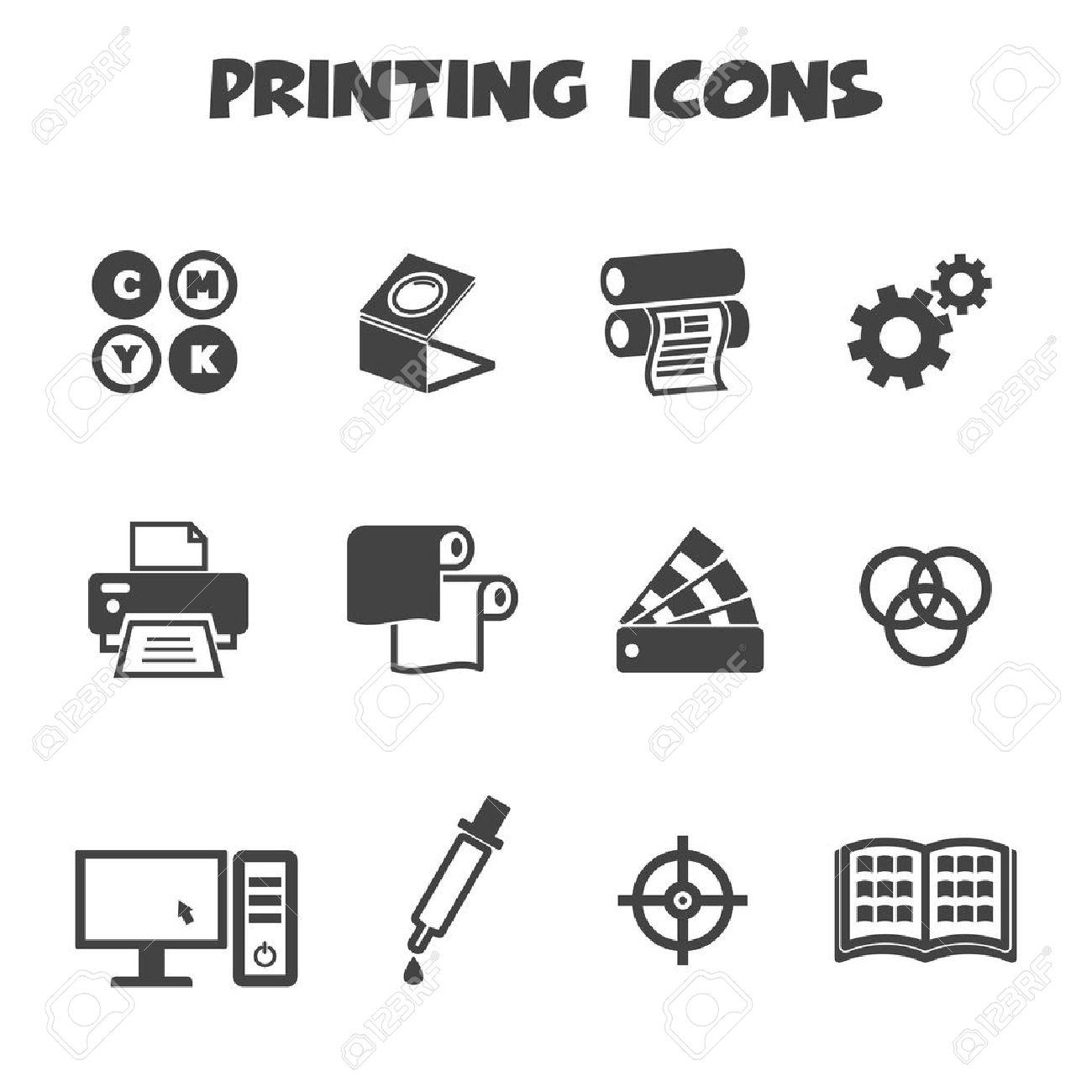 printing icons, mono vector symbols - 27374152