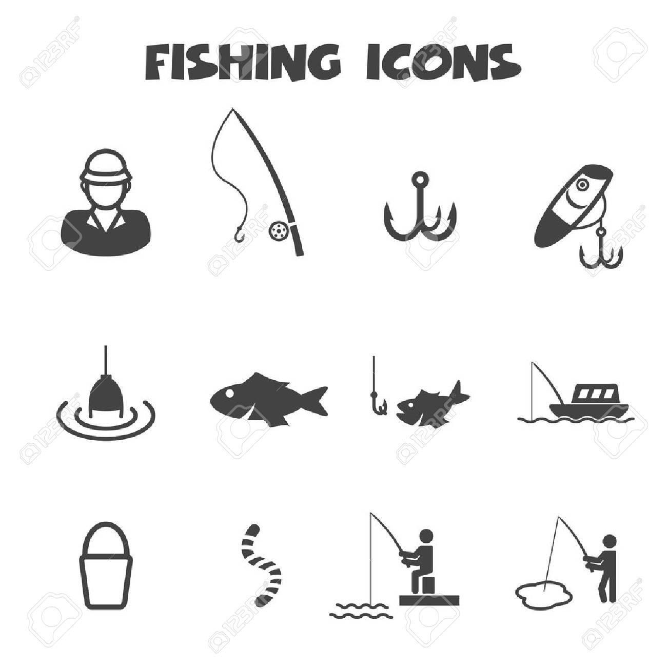 Fishing Icons Mono Vector Symbols Royalty Free Cliparts Vectors