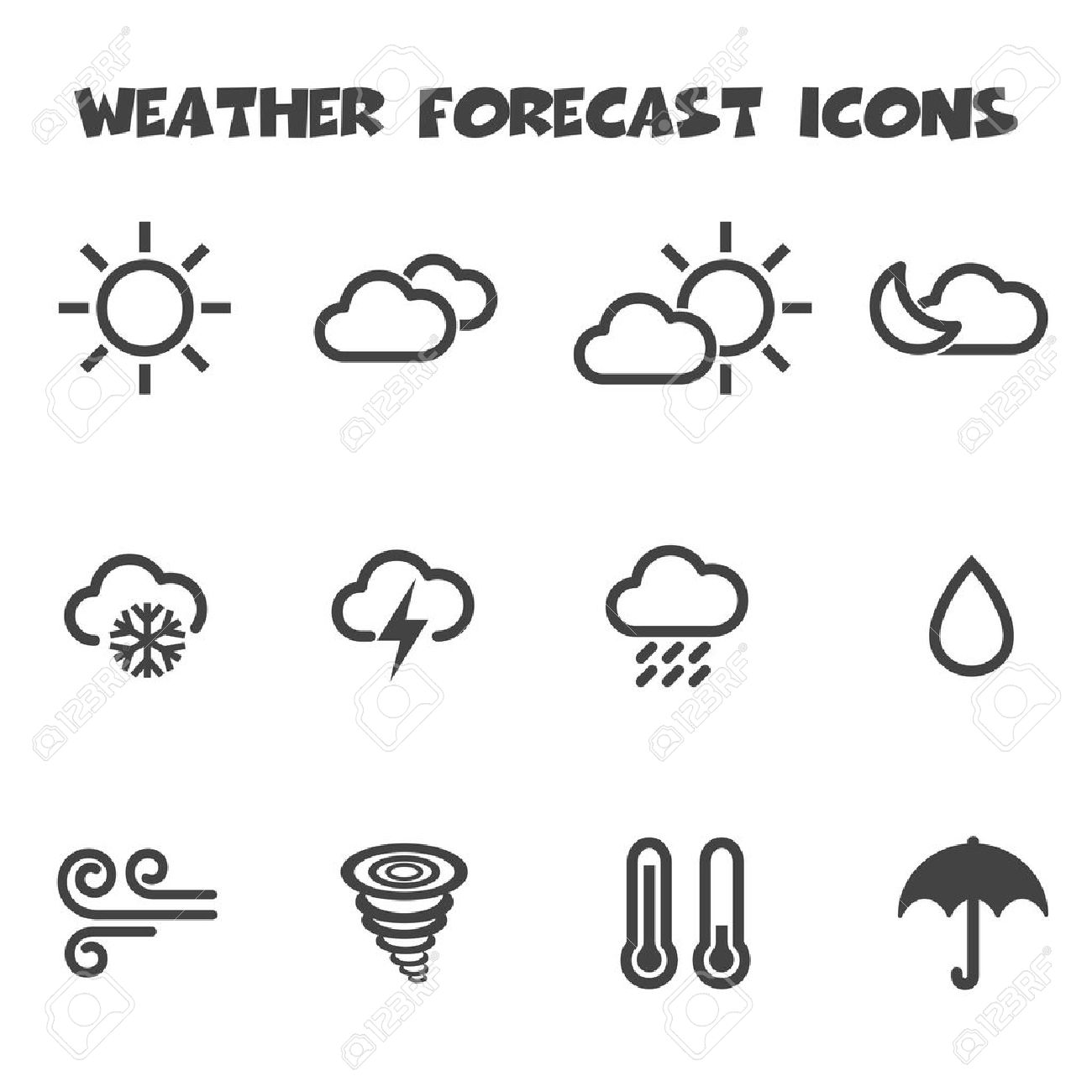 Weather Forecast Icons Mono Vector Symbols Royalty Free Cliparts