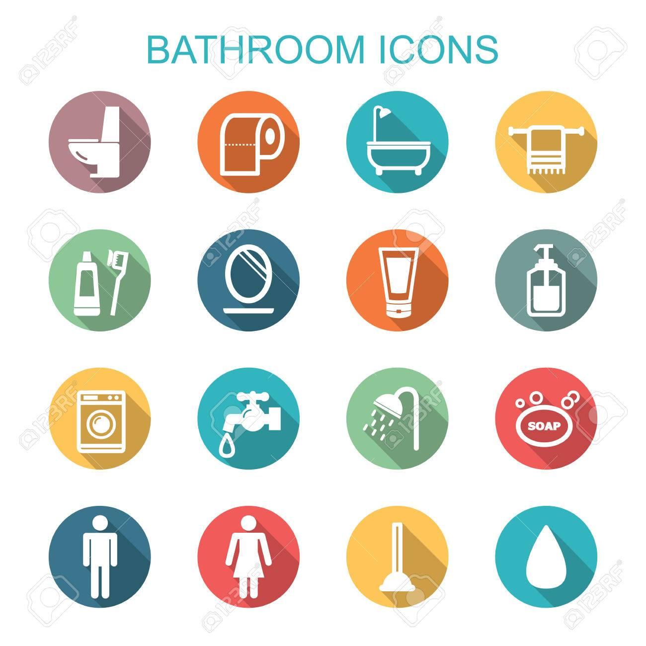 bathroom long shadow icons, flat vector symbols - 33706901